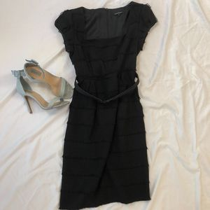 Nanette Lepore Black Belted Fringe Dress Size 4
